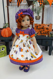 Halloween Bakery - dress, beret, tights & shoes for Little Darling Doll or 33cm BJD