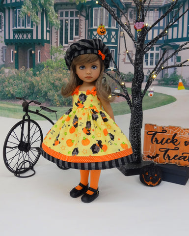 Halloween Cat - dress, hat, tights & shoes for Little Darling Doll or 33cm BJD