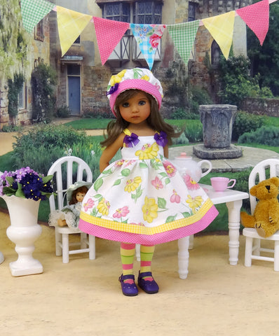 Happy Flowers - dress, hat, tights & shoes for Little Darling Doll or 33cm BJD