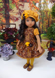 Harvest Paisley - dress, beret, tights & shoes for Little Darling Doll or other 33cm BJD