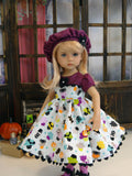 Haunted Cupcakes - dress, hat, tights & shoes for Little Darling Doll or 33cm BJD