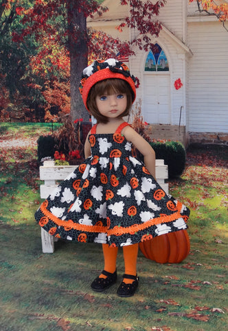 Haunted Pumpkin Patch - dress, hat, tights & shoes for Little Darling Doll