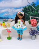 Hawaiian Owl - babydoll top, bloomers, kerchief & sandals for Little Darling Doll or 33cm BJD