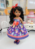 Hawaiian Pineapple - dress, tights & shoes for Little Darling Doll or 33cm BJD
