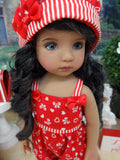 Hearts & Bows - romper, hat, socks & shoes for Little Darling Doll or 33cm BJD