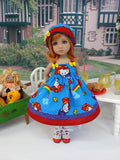 Hello Kitty Rainbows - dress, hat, socks & shoes for Little Darling Doll or 33cm BJD
