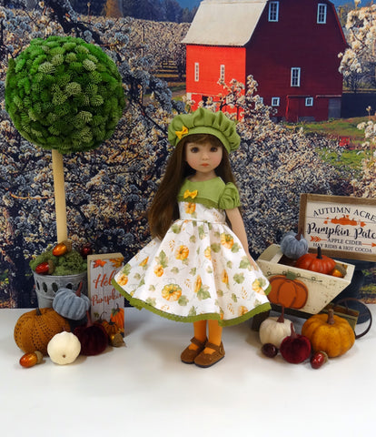 Hello Pumpkin - dress, hat, tights & shoes for Little Darling Doll or 33cm BJD