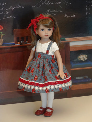 Heritage Berries - dress, tights & shoes for Little Darling Doll or 33cm BJD