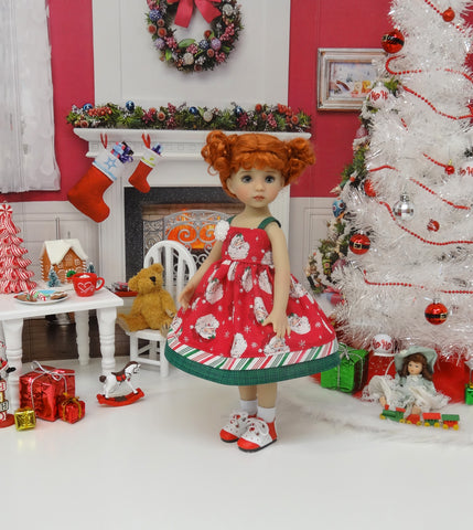 Ho Ho Ho - dress, socks & shoes for Little Darling Doll or 33cm BJD