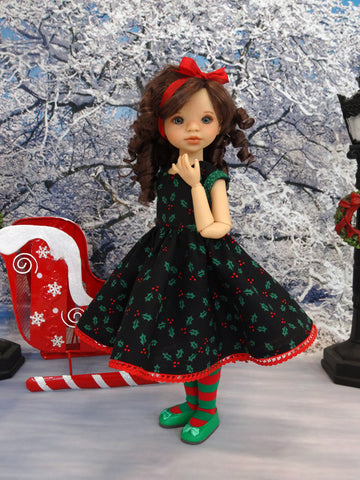 Holiday Holly - dress, tights & shoes for Little Darling Doll or 33cm BJD