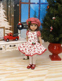 Holiday Sweets - dress, beret, tights & shoes for Little Darling Doll or other 33cm BJD
