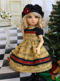 Holiday Tune - dress, hat, tights & shoes for Little Darling Doll or 33cm BJD