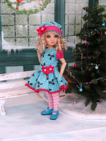 Holly Bough - dress, hat, tights & shoes for Little Darling Doll or 33cm BJD