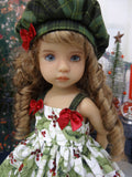 Holly Branch - dress, tights & shoes for Little Darling Doll or 33cm BJD