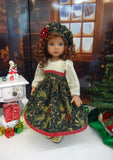 Holly & Mistletoe - dress, hat, tights & shoes for Little Darling Doll or 33cm BJD