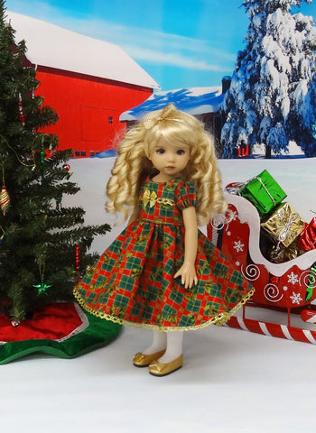 Holly Tartan - dress, tights & shoes for Little Darling Doll or other 33cm BJD