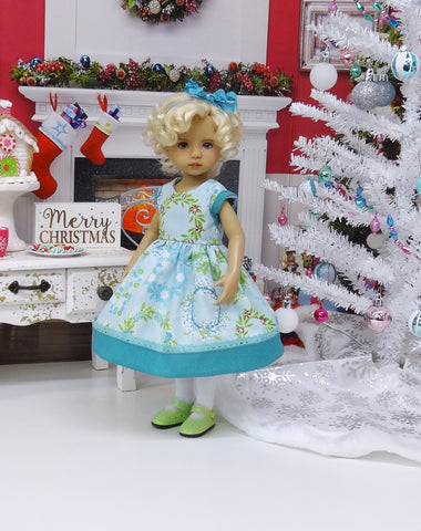 Holly Who Wreath - dress, tights & shoes for Little Darling Doll or 33cm BJD