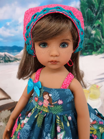 Hula Girl - babydoll top, bloomers, kerchief & sandals for Little Darling Doll or 33cm BJD