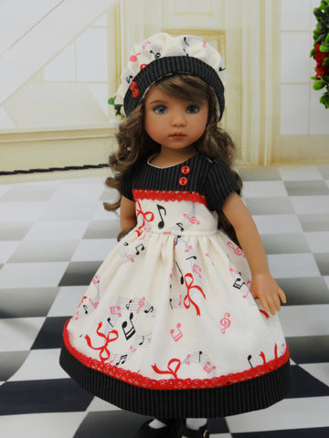 I Love Music - dress, hat, tights & shoes for Little Darling Doll