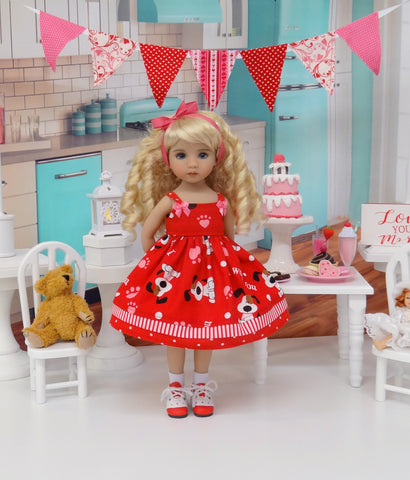 I Woof You - dress, socks & shoes for Little Darling Doll or 33cm BJD