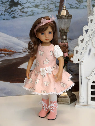 Ice Skater - dress, tights & shoes for Little Darling Doll or 33cm BJD