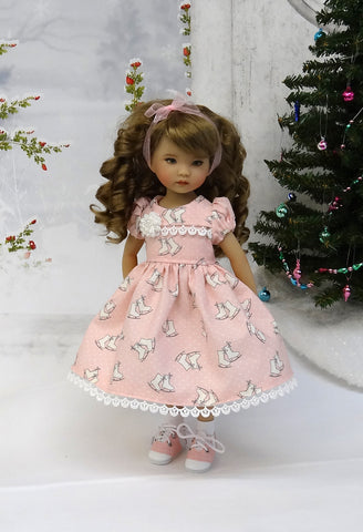 Ice Skates - dress, socks & saddle shoes for Little Darling Doll or 33cm BJD