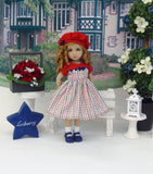 Independence Stripes - dress, hat, socks & shoes for Little Darling Doll or 33cm BJD