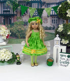 Irish Clover - dress, beret, tights & shoes for Little Darling Doll or 33cm BJD