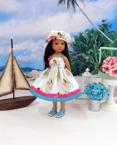 Island Girl - dress, beret & sandals for Little Darling Doll or 33cm BJD