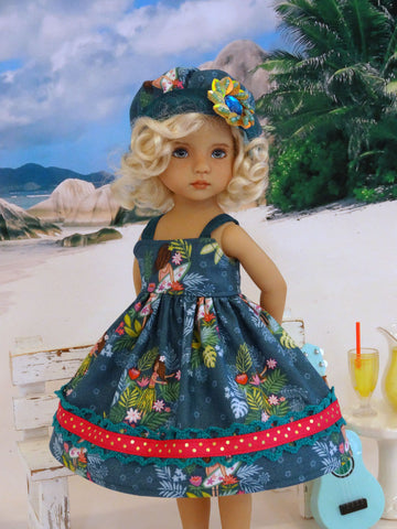 Island Surfer - dress, hat, & sandals for Little Darling Doll