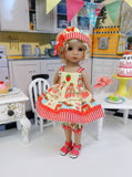 Jelly & Jam - babydoll top, bloomers, hat & sandals for Little Darling Doll or 33cm BJD