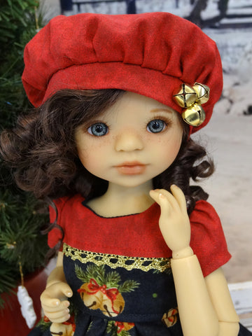 Jingle All The Way - dress, beret, tights & shoes for Little Darling Doll or 33cm BJD