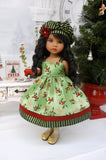 Jolly Holly - jacket, hat, dress, tights & shoes for Little Darling Doll or 33cm BJD