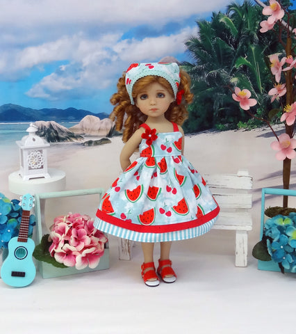 Juicy Watermelon - dress, kerchief & sandals for Little Darling Doll or 33cm BJD