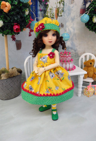 Koala Kutie - dress, hat, tights & shoes for Little Darling Doll or other 33cm BJD