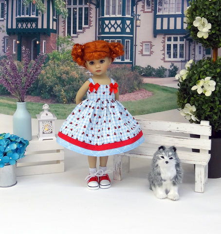 Ladybug Picnic - dress, socks & shoes for Little Darling Doll or 33cm BJD
