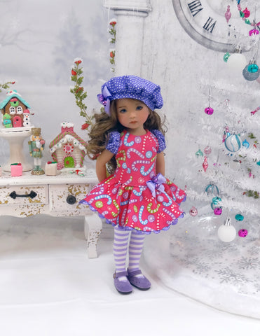 Land of Sweets - dress, beret, tights & shoes for Little Darling Doll or other 33cm BJD
