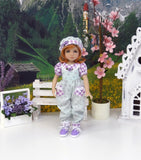 Lavender Sprig - romper, hat, socks & shoes for Little Darling Doll or 33cm BJD