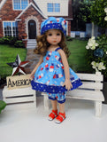 Liberty Scoops - babydoll top, bloomers, hat & sandals for Little Darling Doll or 33cm BJD