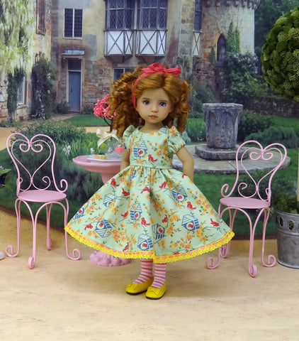 Little Blue Birdhouse - dress, tights & shoes for Little Darling Doll or other 33cm BJD