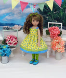 Little Blue Flowers - dress, tights & shoes for Little Darling Doll or 33cm BJD