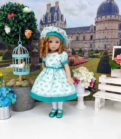 Little Blue Robin - dress, hat, tights & shoes for Little Darling Doll or 33cm BJD