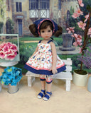 Little Bluebird - babydoll top, bloomers, kerchief & sandals for Little Darling Doll or 33cm BJD