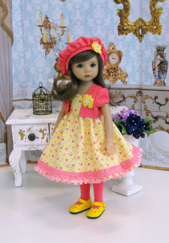 Little Buttercup - dress, jacket, beret, tights & shoes for Little Darling Doll