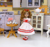 Little Cherry - dress, socks & shoes for Little Darling Doll or 33cm BJD