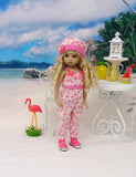 Little Flamingo - romper, hat & sandals for Little Darling Doll or 33cm BJD