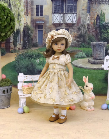 Little Nutbrown Hare - dress, hat, socks & shoes for Little Darling Doll or 33cm BJD