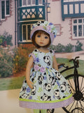 Little Panda - dress, hat, tights & shoes for Little Darling Doll or 33cm BJD