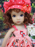 Little Red - dress, hat, socks & shoes for Little Darling Doll or 33cm BJD