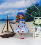 Little Skipper - dress, hat, socks & shoes for Little Darling Doll or 33cm BJD